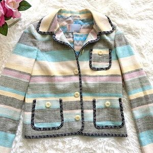 MISSONI Silk Embroidered Trim Pastel Jacket Blazer